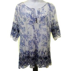 Soft Surroundings 1X Embroidered Boho Tunic Top
